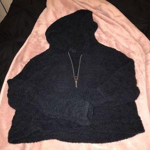 Black Furry Cropped Hoodie
